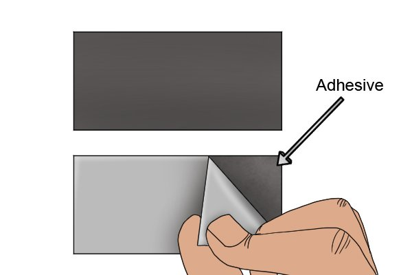 Adhesive on a flexible magnetic sheet label