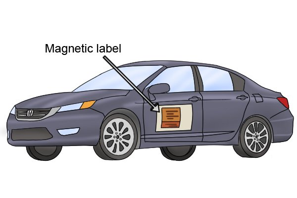 Flexible magnetic label car sign on a car