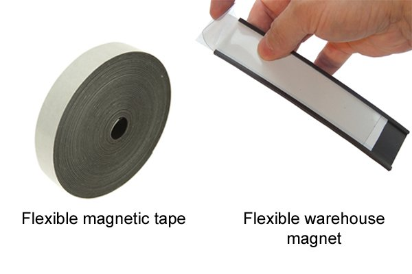 Flexible magnetic tape and a flexible warehouse magnet