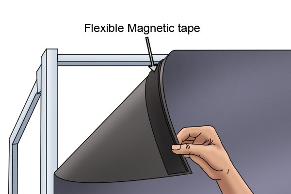 Flexible magnetic tape on a piece of fabric being attached to a metal frame