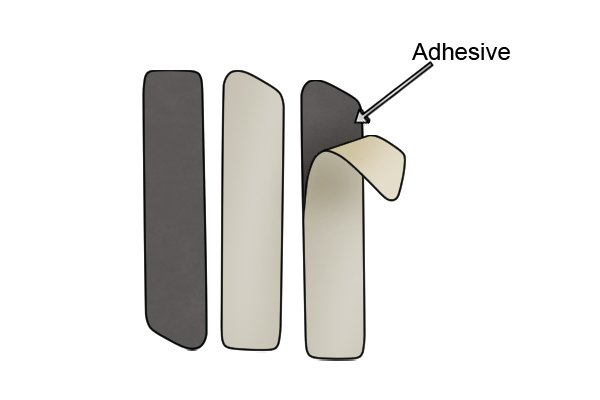 Magnetic tape cut into strips with labelled adhesive