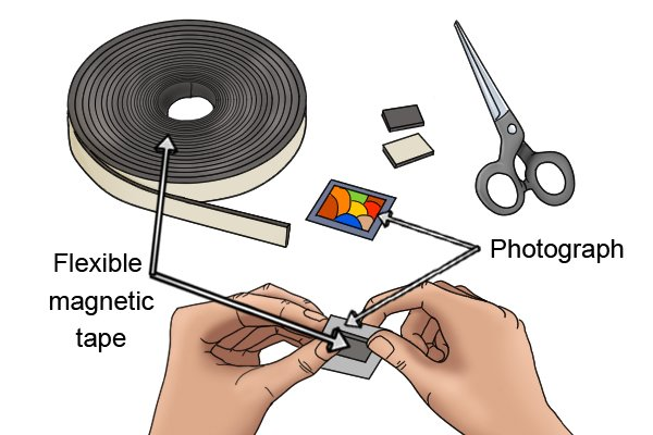Making a fridge magnet with flexible magnetic tape and a photograph