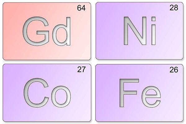 Ferromagnetic materials: gadolinium, iron, cobalt, and nickel
