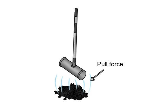 Pull force of a pull magnetic sweeper