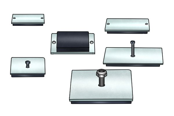 Group of magnetic mounting pads in a variety of different sizes, threaded stud and through hole types