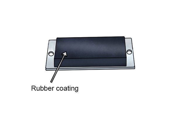 Through hole magnetic mounting pad rubber coating
