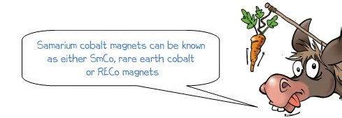 """Wonkee Donkee says """"Samarium cobalt magnets can be known as either SmCo, rare earth cobalt or RECo magnets"""""""