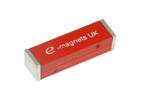 two red rectangle bar magnets held together by a keeper
