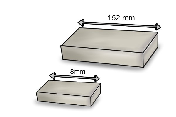 Length of two sizes of rectangle bar magnet 8mm and 152mm