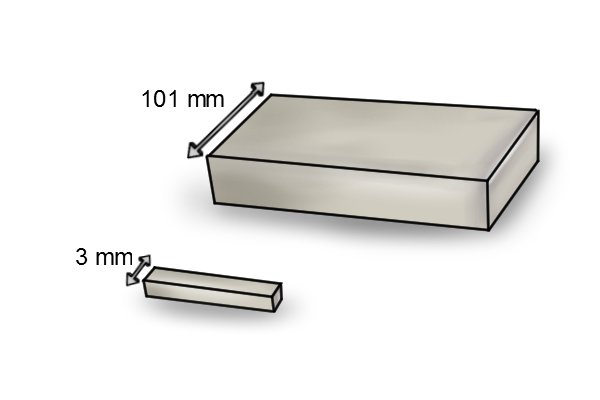 Width of a rectangle bar magnet 3mm and 101mm