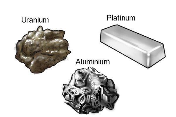 Paramagnetic materials: uranium, platinum, and aluminium