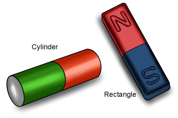 orange and green cylinder bar magnet and a red and blue rectangle bar magnet
