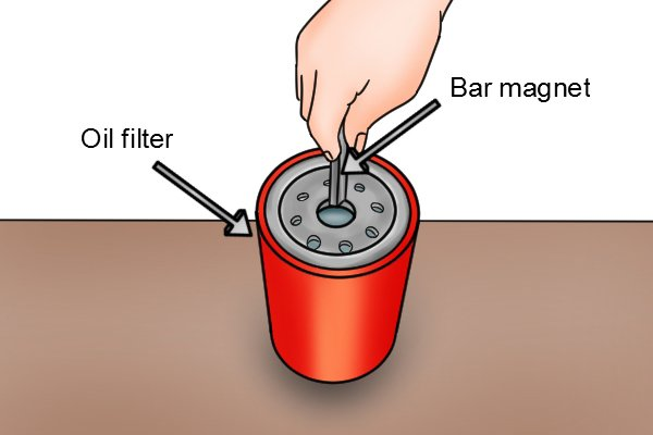 Hand placing a bar magnet into a oil filter
