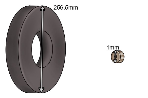 Diameter of a ring magnetic disc 1mm and 256.5mm