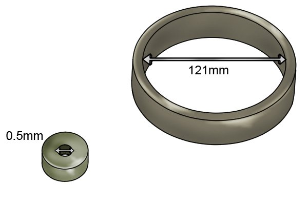 Inner diameter of a ring magnetic disc 0.5mm and 121mm