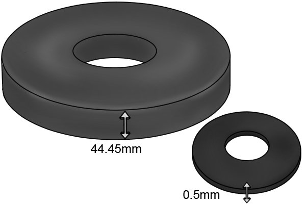 Height of a ring magnetic disc 0.5mm and 44.45mm