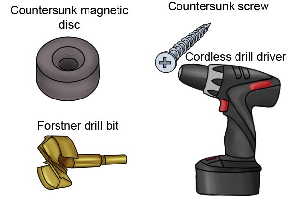 Things need to attach a countersunk magnetic disc: forstner drill bit, countersunk magnetic disc, cordless drill driver and a countersunk screw