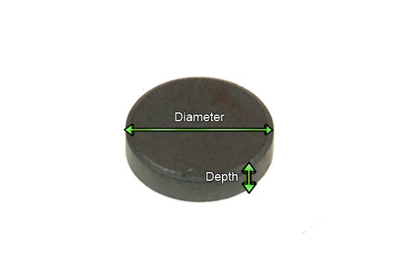 Diameter and depth of a grey basic magnetic disc
