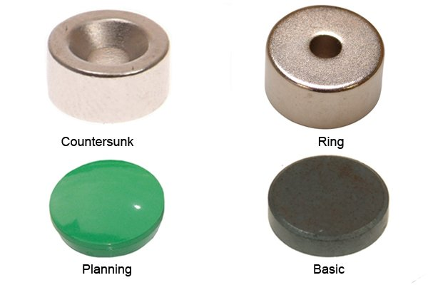 Types of magnetic discs: white countersunk, silver ring, green planning and grey basic magnetic discs