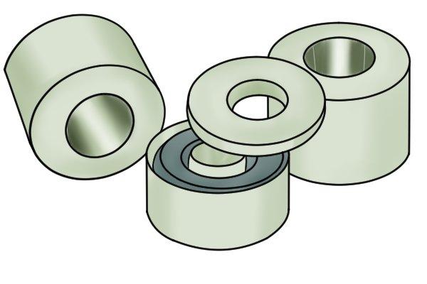 Ferrite core: ring magnetic disc in a pale plastic case