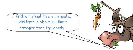 """Wonkee Donkee says """"A fridge magnet has a magnetic field that is about 20 times stronger than the earth!"""""""