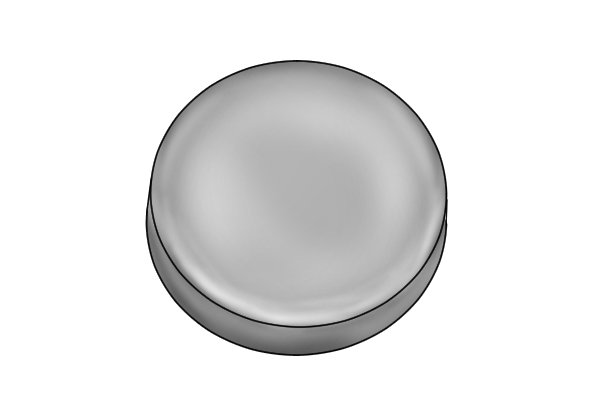Basic grey magnetic disc on its side