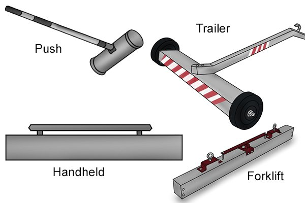 Yypes of magnetic sweeper: handheld, forklift, push and trailer