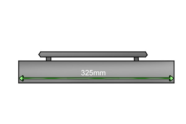Width of a hand-held magnetic sweeper 325mm