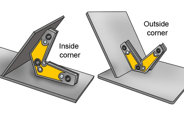 Inside and outside corners produced by a corner fixed multi angle weld clamp magnet on a sheet of steel
