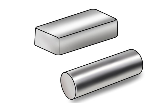 Types of bar magnet: rectangle and cylinder