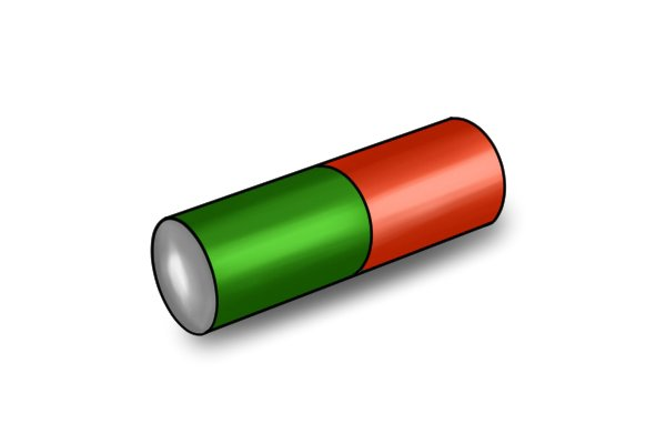 Orange and green cylinder bar magnet