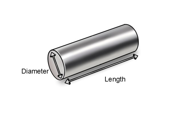 cylinder bar magnet with labelled length and diameter