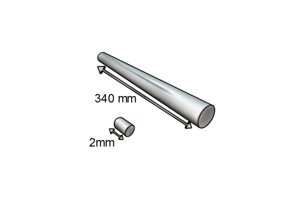Lengths of two cylinder bar magnets 2mm and 340mm