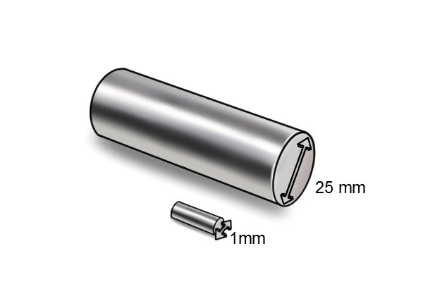 Diameter of a cylinder bar magnet 25mm and 1mm