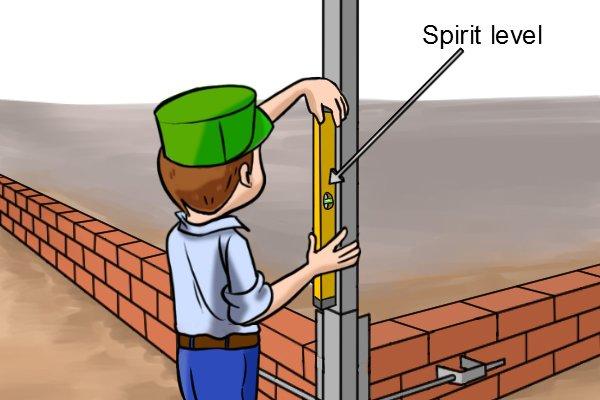 Using spirit level to plumb profile vertical
