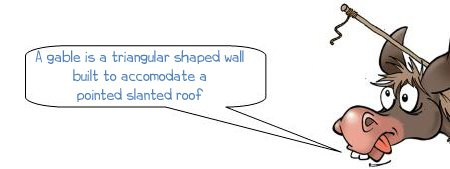 Wonkee Donkee says; A gable is a triangular shaped wall built to accommodate a pointed slanting roof.