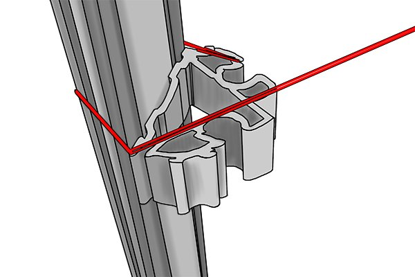 step 5; set up the string line between the two profiles