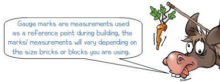 Wonkee Donkee says; Gauge marks are measurements used as a reference point during building, the marks/ measurements will vary depending on the size bricks or blocks you are using.