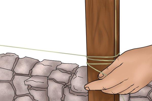 String line around wooden post