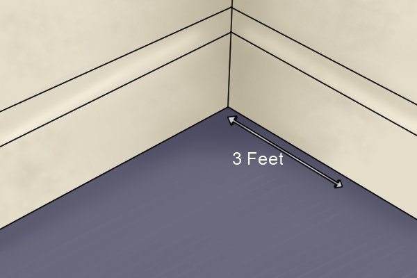 Measure out 3 feet from corner