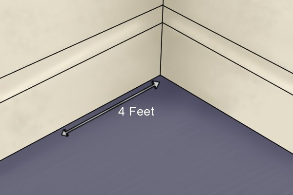 Measure out 4 feet from other corner