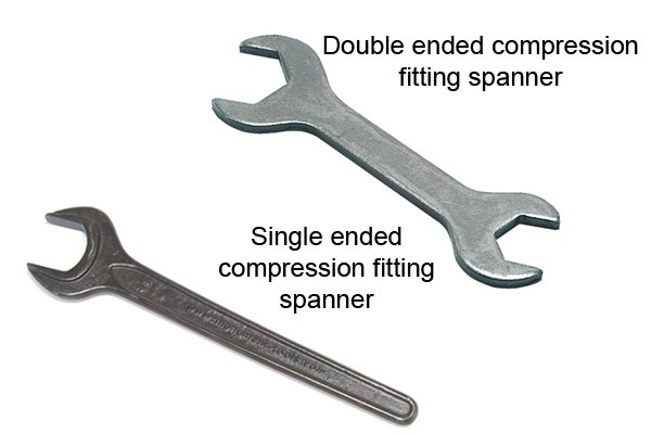 Double ended compression fitting spanner and single ended compression spanner