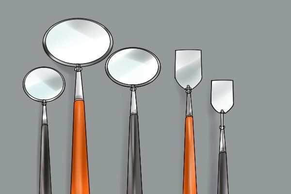 What are the different types of inspection mirror for Different sized mirrors
