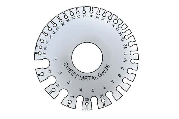 sheet metal gauge, measures the thickness of steel as nibbler shears can only cut through sheet metal up to a certain thickness