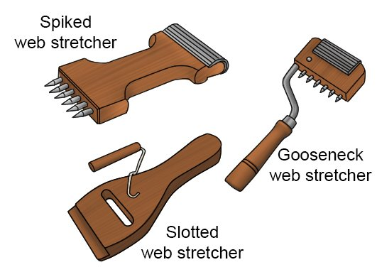 Three types of web stretcher; slotted web stretcher, spiked web stretcher and gooseneck web stretcher. All used to stretch out upholstery webbing