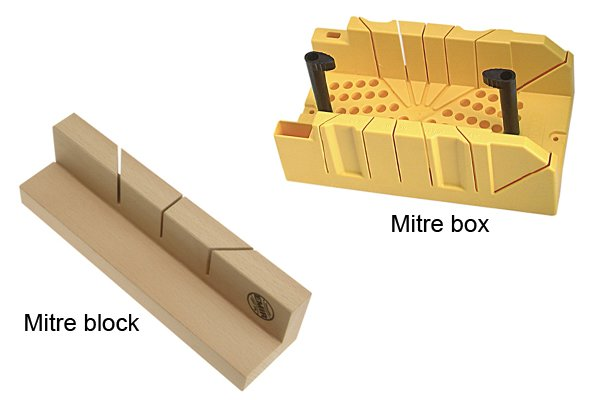Wonkee Donkee A mitre block serves the same function as a mitre box except it only has a single row of guide slots