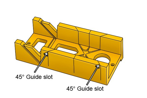 Wonkee Donkee 45° Saw Guide Slots on a mitre box