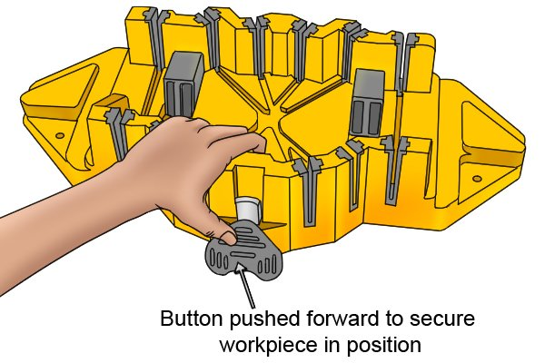 Wonkee Donkee Workpiece clamp in operation holding a piece of trim secure on a mitre box