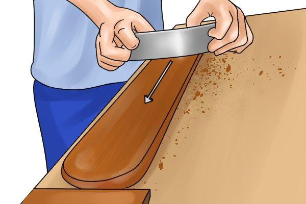 Scrape with grain, cabinet scraper, woodwork, hardwood, softwood, finish, DIYers, carpenter.