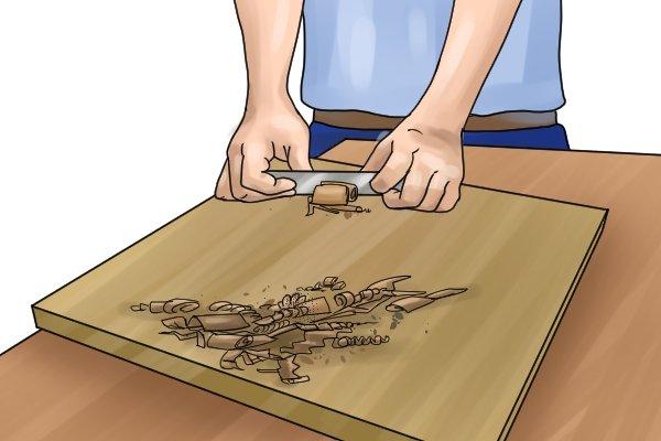 Cabinet scrapers, scraping with the grain, wood, grain, woodwork, DIYer, carpenter.